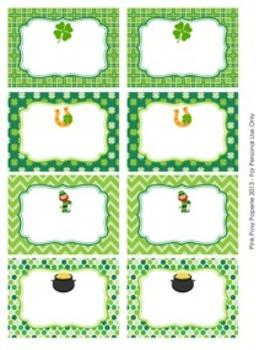 St. Patrick's Day Classroom Bin Tag Labels