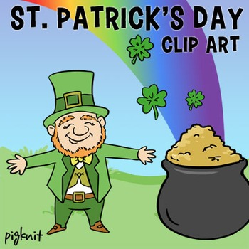 St. Patrick's Day Clip Art, Leprechaun, Pot of Gold, Rainbow, Shamrock, 4 Leaf