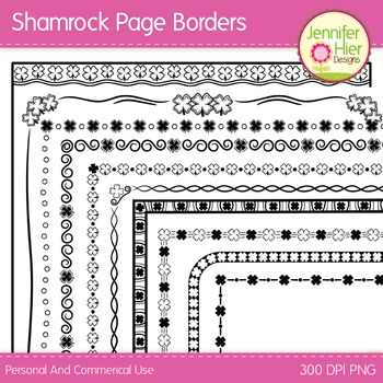 St. Patricks' Day Clip Art Page Border Frames: Black and W