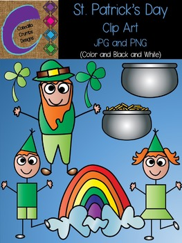 St. Patrick's Day Clip Art Set Color and Black and White Images