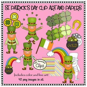 St. Patrick's Day Clip Art and Papers (Line art included!)