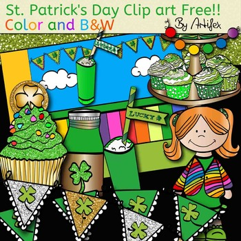 St. Patrick's Day Clip Art free!! color and B&W.
