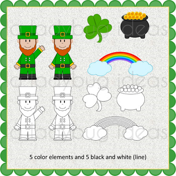 St. Patricks Day  Clip art. Color and B&W. PNG Files.