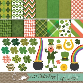 St. Patrick's Day Clipart & Background BUNDLE