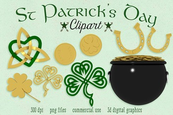 St. Patrick's Day Clipart, Celtic Knots, Horseshoe, Lucky