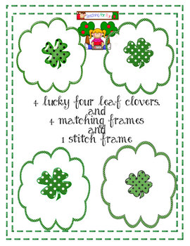 St. Patricks Day Clipart Clovers and Frames  by Teaching for Fun Freebie
