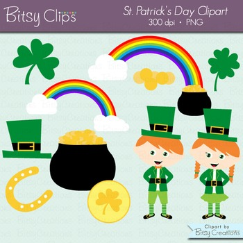 St. Patrick's Day Clipart Digital Art Set Leprechaun Clipa