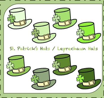 St. Patricks Day Clipart / Leprechaun Hats Clipart / Saint Patty's Day