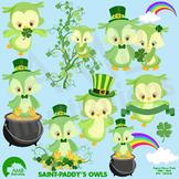 St. Patricks Day Clipart, Owl Clipart, Owls Clip Art, AMB-1185