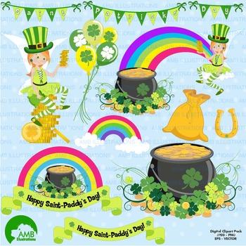 St. Patricks Day Clipart, Rainbow Clipart, Vector Graphics