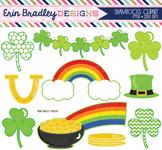 St. Patricks Day Clipart - Shamrocks Pot of Gold Rainbows