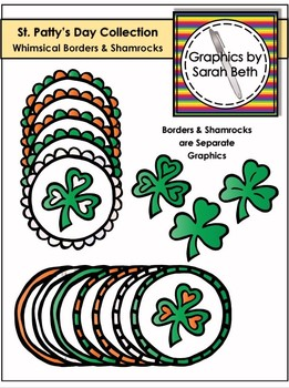 St. Patrick's Day Clipart - Whimsical Borders & Shamrocks