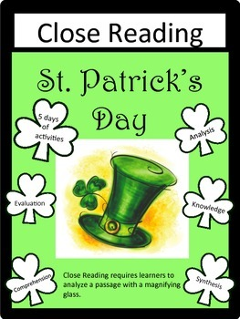 St. Patrick's Day: Close Reading Packet- 5 days of activities:  Common Core