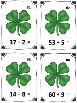 St. Patrick's Day Clover Addition Math Center (Common Core)