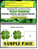 St. Patrick's Day Clover Counting Math Activity for Kindergarten & Autism