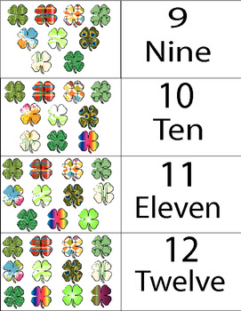 St. Patrick's Day Clover Number Counting Cards 1 to 20