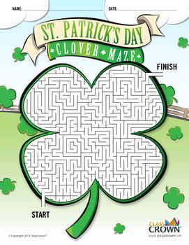 St. Patrick's Day Maze - St. Patricks Maze - Clover Maze - B&W Print Ready