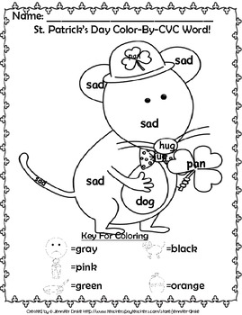 St. Patrick's Day 'Color By CVC Word' ~A Phonics Approach To Color By Number!~