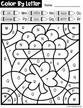 St. Patrick's Day Color By Letter