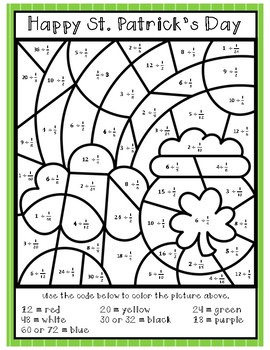 St. Patricks Day Color By Number: Division by Fractions