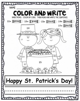St. Patrick's Day Color By Number & Write a Sentence Activity for K-1