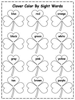 St. Patrick's Day Color By Sight Words