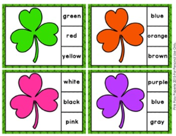 St Patricks Day Color Clip Cards and Memory Game