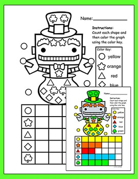 St. Patrick's Day Math Graphing Activity: Color, Count & Graph Shapes Worksheets