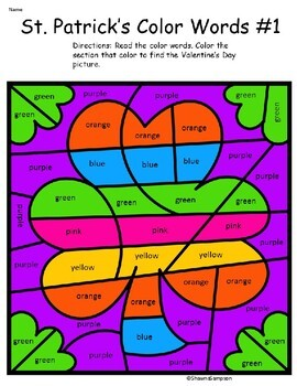St. Patrick's Day Coloring with Color Words