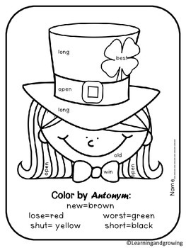 St. Patrick's Day Color by Fraction, Synonym, Antonym, Multiplication (Activity)