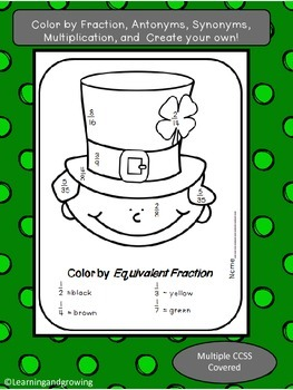 St. Patrick's Day Color by Fraction, Synonym, Antonym, Mul