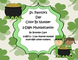 St. Patrick's Day Color by Number - 2 Digit Multiplication
