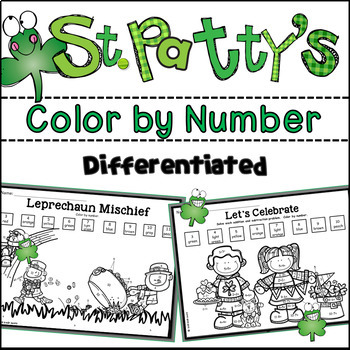 St. Patrick's Day Color by Number Differentiated (Numbers 1-11)