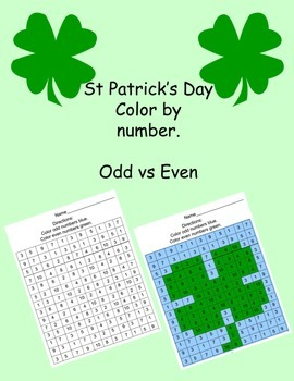 St Patrick's Day Color by Number Odds & Evens
