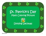St. Patrick's Day Color by Numbers - Dividing Decimals