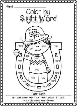 St. Patrick's Day Color by Sight Word Bundle (Pre-primer & Primer)