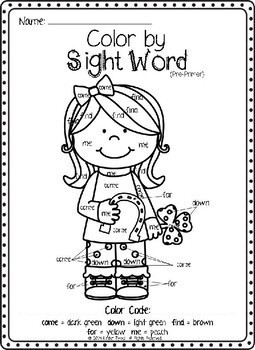 St. Patrick's Day Color by Sight Word (Pre-primer)