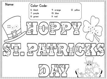 St. Patrick's Day Color by the Code