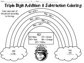St. Patrick's Day Coloring Page, Triple Digit Addition & Subtraction