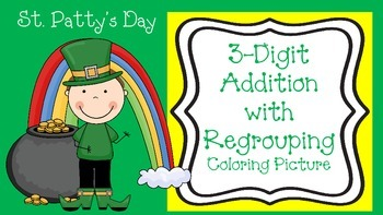St. Patrick's Day Coloring Picture-Addition With Regrouping