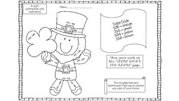 St. Patrick's Day Coloring Picture With Regrouping