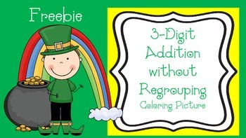 St. Patrick's Day Coloring Picture without Regrouping