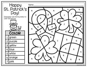 St. Patrick's Day Coloring and Writing Sheets, Color Pages