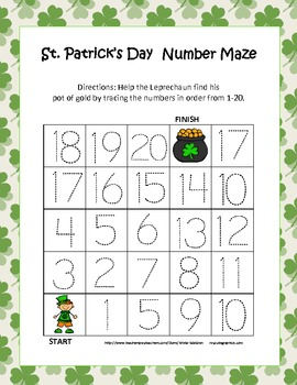 St. Patrick's Day Common Core Aligned Leveled Number Tracing Mazes (3 Total)