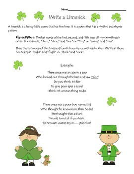 st patricks day common core fun activities - 30 Limerick Examples Funny Cooperative