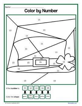 St. Patrick's Day Color by Number (kindergarten) Color by Number & Shapes