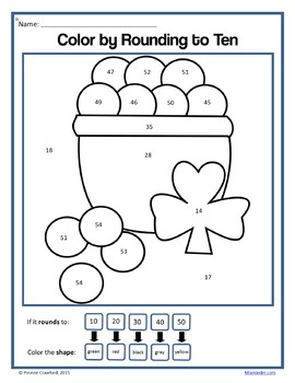 St. Patrick's Day Color by Number (3rd grade) Color by Multiplication & Rounding