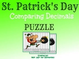 St. Patrick's Day Comparing Decimals Puzzle