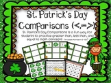 St. Patrick's Day Comparisons (Greater Than, Less Than, or Equal Practice) 0-100