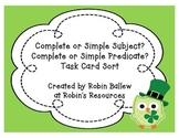 Complete and Simple Subjects and Predicates task card sort: St. Patrick's Day
